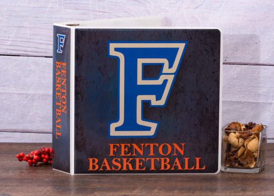 Front of fenton basketball custom binder