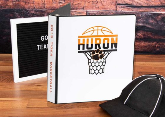 Huron Basketball custom binder