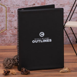 weekly welcome outlines front cover custom binder
