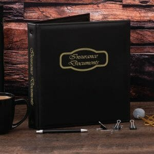 freeport insurance documents binder - black front cover