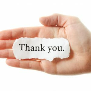 Thank You Card Cover - Hand Holding Note
