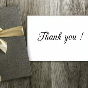 Thank You Card Cover - Gift On Table