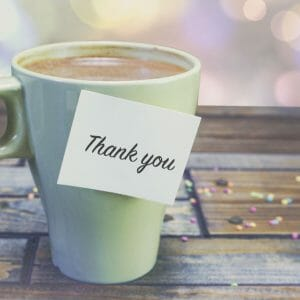 Thank You Card Cover - Coffee Cup On Table